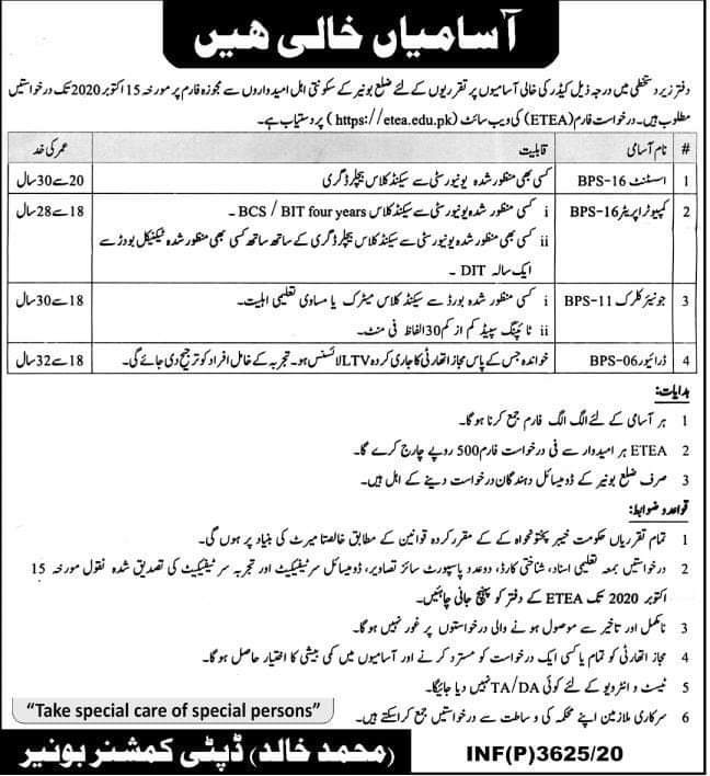 DCO Deputy Commissioner Office Buner Jobs ETEA Roll No Slip