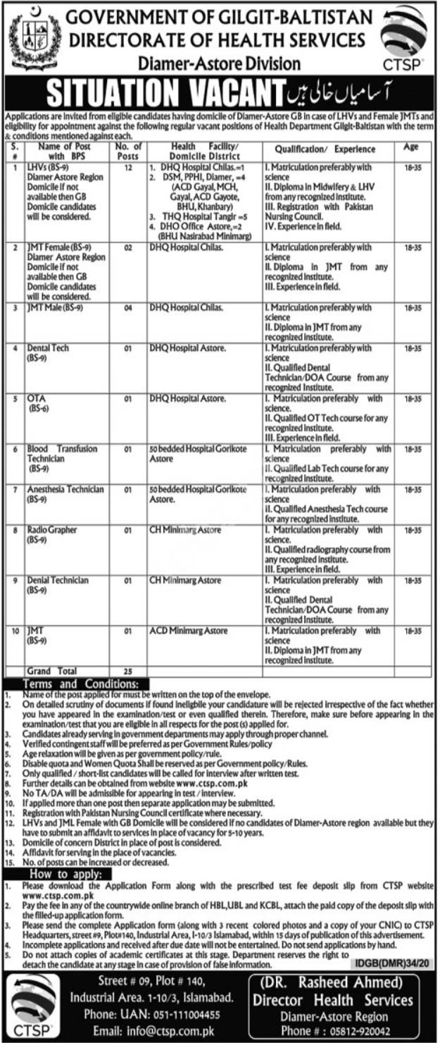 Directorate of Health Services Diamer Astore Jobs CTSP Answer Key Results