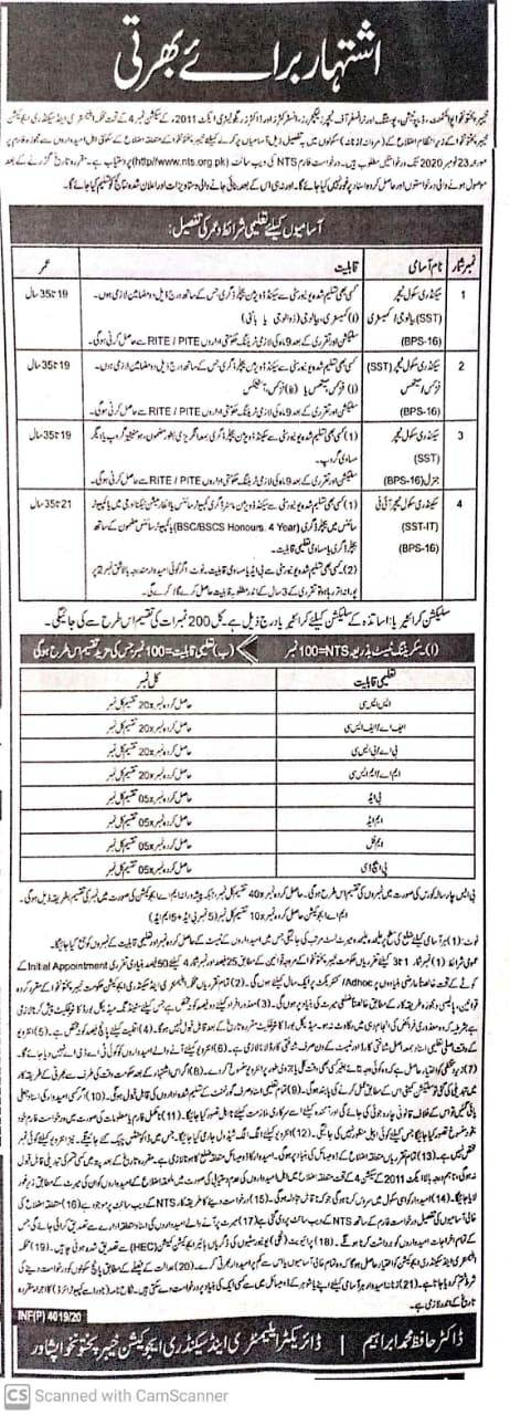 KPK Elementary Secondary Education Department Jobs NTS Roll No Slip