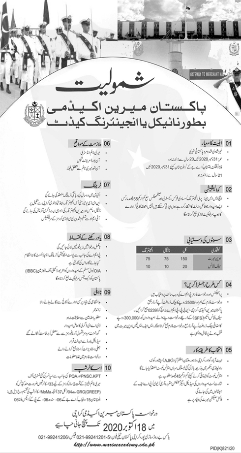 Pakistan Marine Academy 59 Cadets Session Admissions NTS Roll No Slip