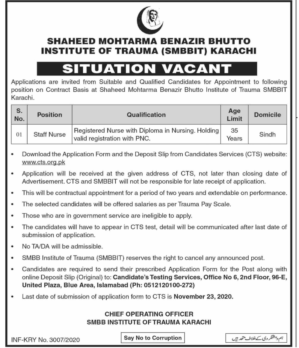 Benazir Bhutto Institute Of Trauma Staff Nurse Jobs CTS Roll No Slip