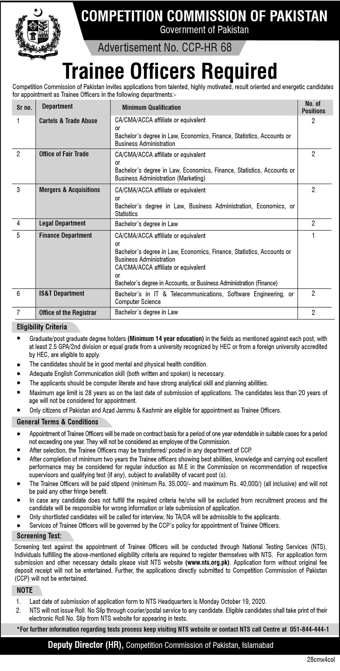 Competition Commission Of Pakistan Trainee Officers Jobs NTS Results
