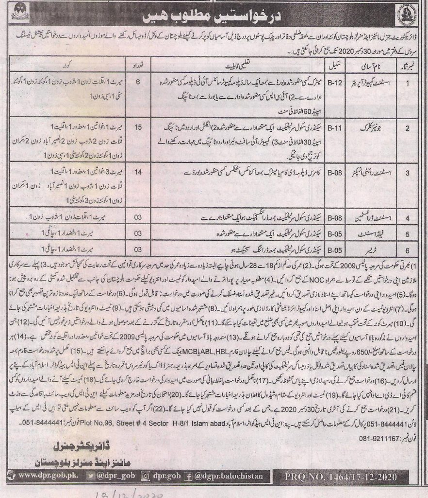 Directorate General Mines Minerals Baluchistan Jobs NTS Roll No Slip