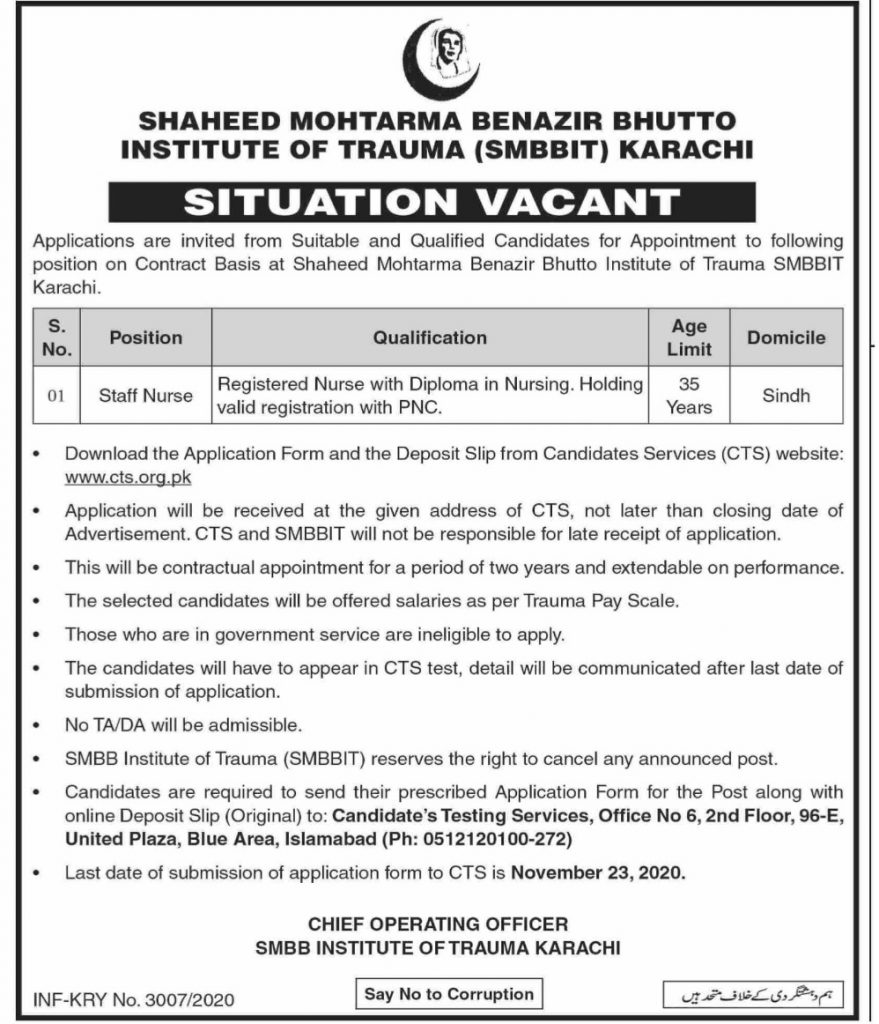Shaheed Mohtarma Benazir Bhutto Institute Of Trauma Jobs CTS Results