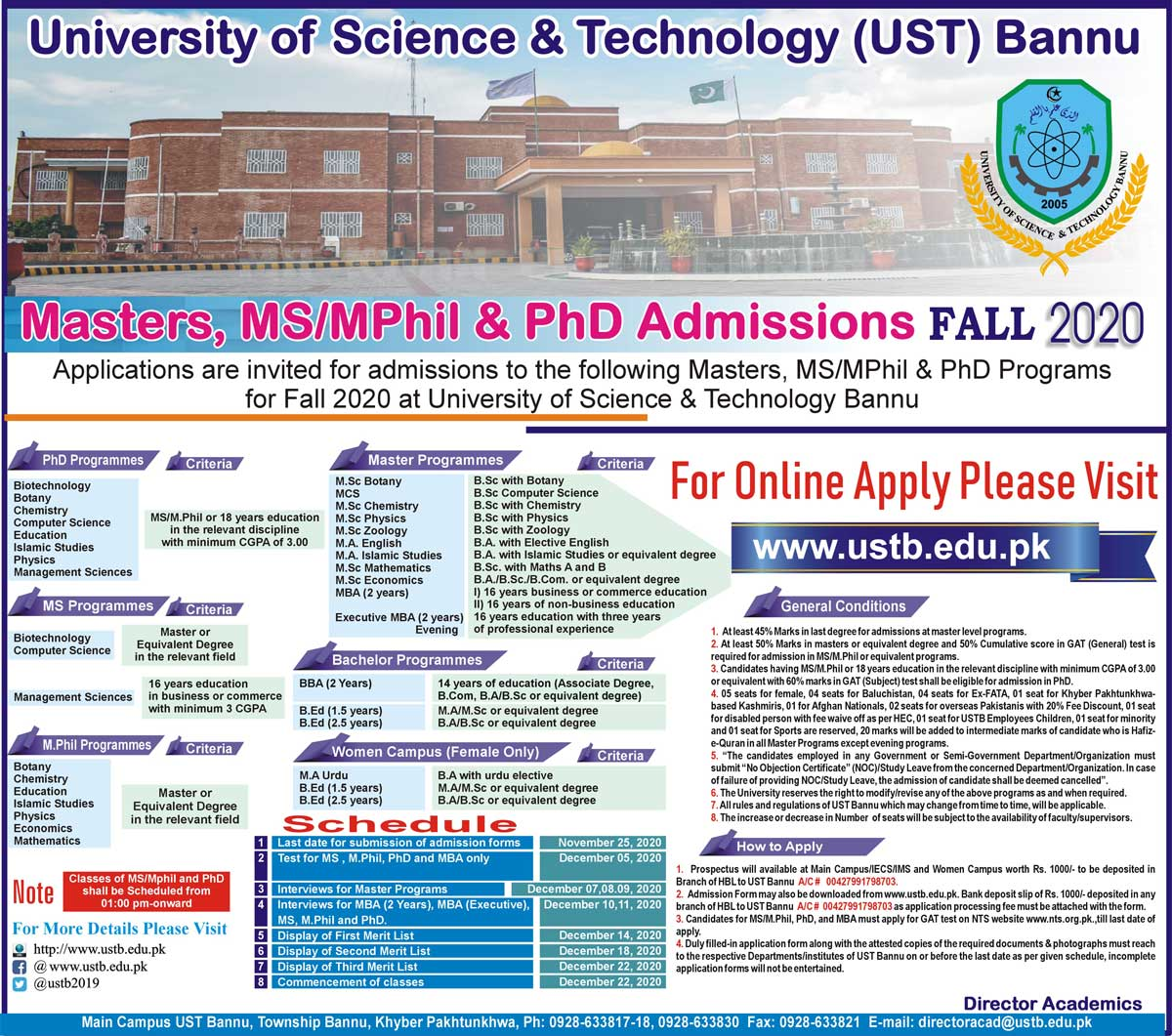 USTB Masters MS MPhil PhD Admissions NTS Answer Keys Result