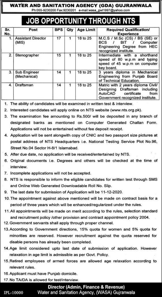 Water and Sanitation Agency Gujranwala GDA Jobs NTS Roll No Slip