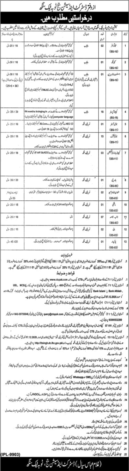 DSJ District Session Judge Toba Tek Singh Jobs CTSPAK Roll No Slip
