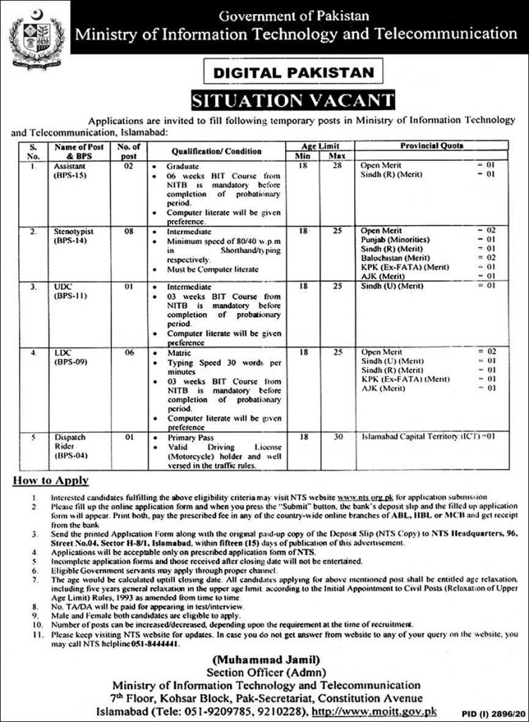 Ministry Information Technology Telecommunication Jobs NTS Roll No Slips