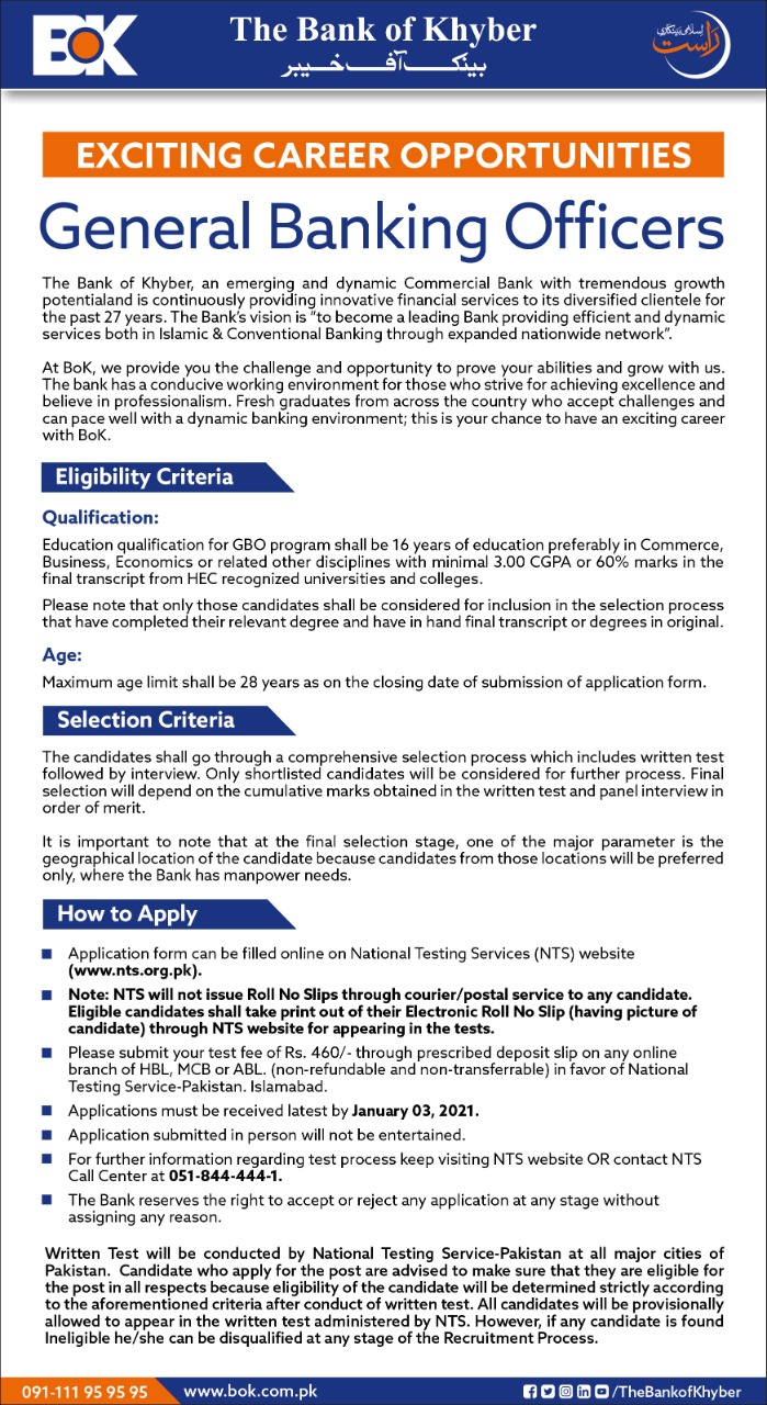 Bank of Khyber General Banking Officer Jobs NTS Test Roll No Slip
