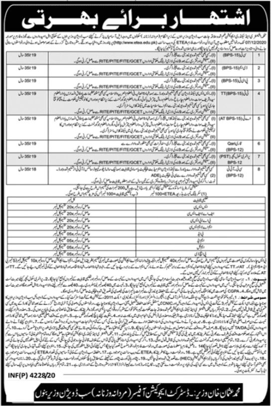 Education Department ESED AT TT CT IT QARI Jobs ETEA Results