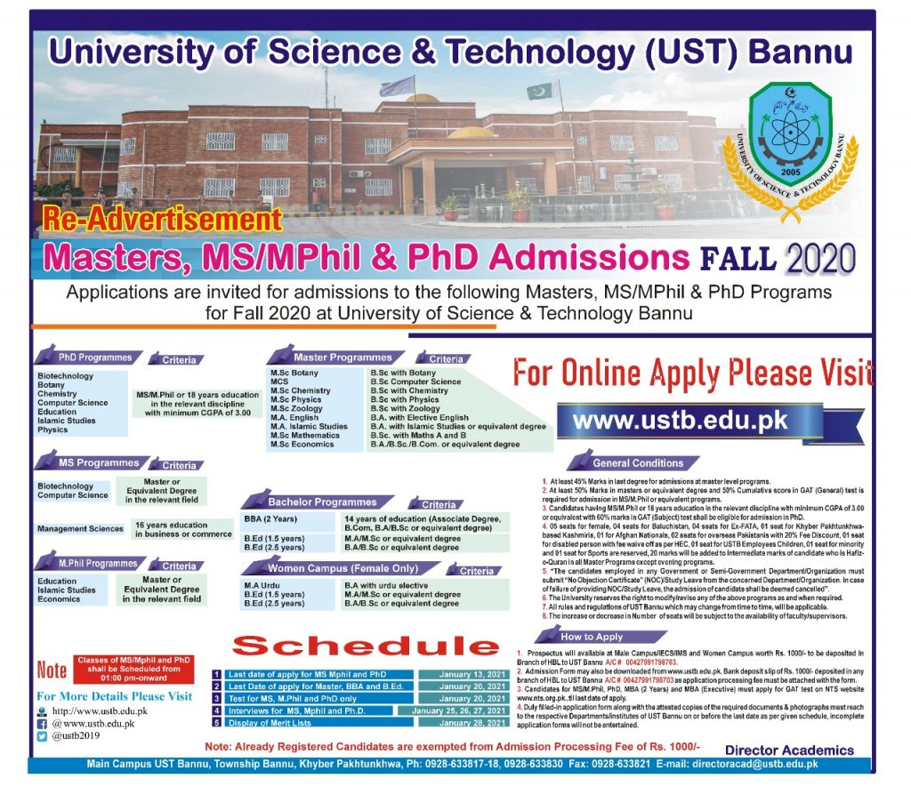 University of Science and Technology Bannu MPhil MS PhD NTS Roll No Slip