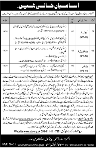Commissioner Malakand Division Jobs PTS Roll No Slips