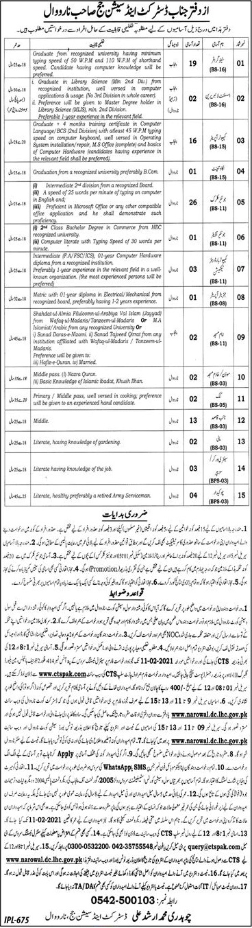 District Session Judge Narowal Jobs CTSPAK Roll No Slips