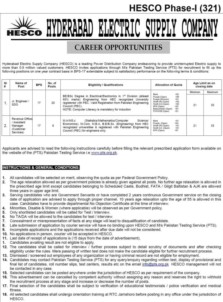 Hyderabad Electric Supply Company HESCO Jobs PTS Results 321 322