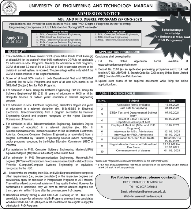 UET Mardan MSc PhD Spring 2021 Admission ETEA Results Merit List