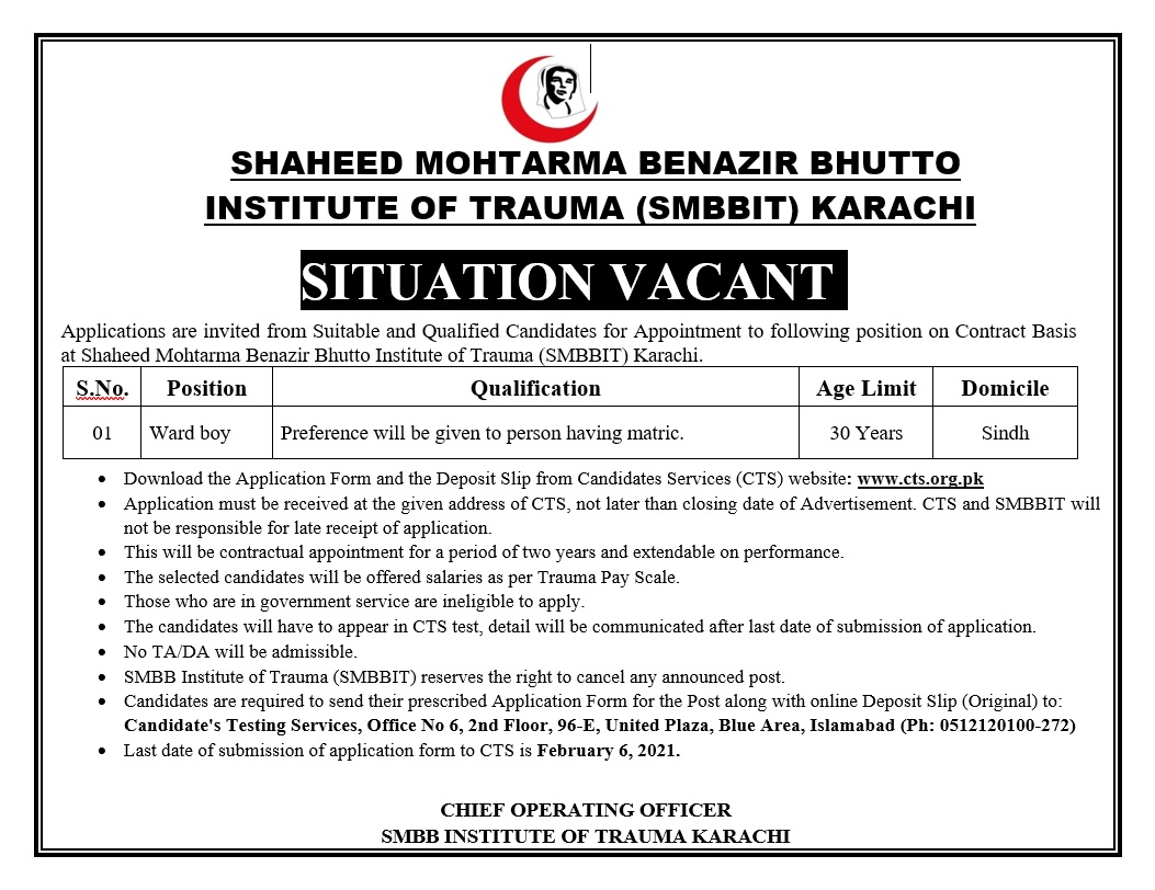 Shaeed Mohtarma Benazir Bhutto Institute Of Trauma Ward Boy Jobs CTS Slip