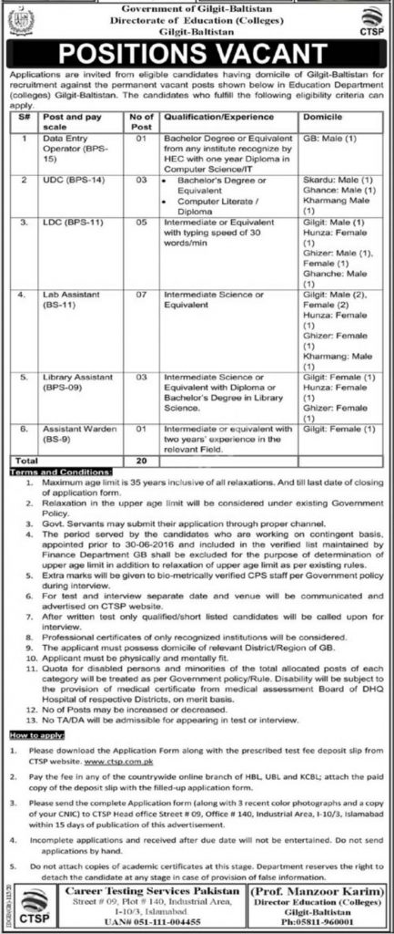 Directorate of Education Colleges ADMIN STAFF Jobs CTSP Results
