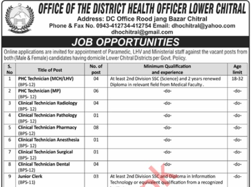 DHO District Health Officer Lower Chitral Jobs ETEA Roll No Slip