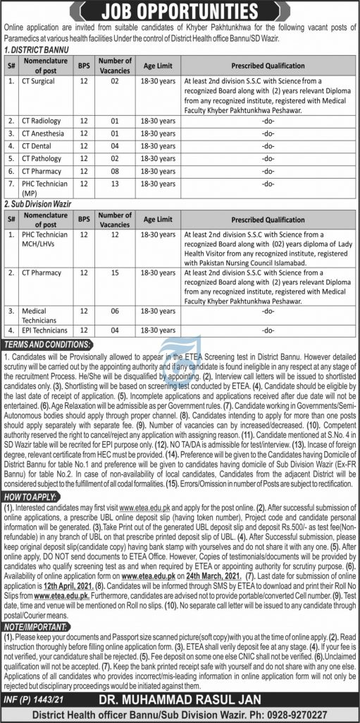 District health office Bannu Sub Division Wazir Jobs ETEA Results c