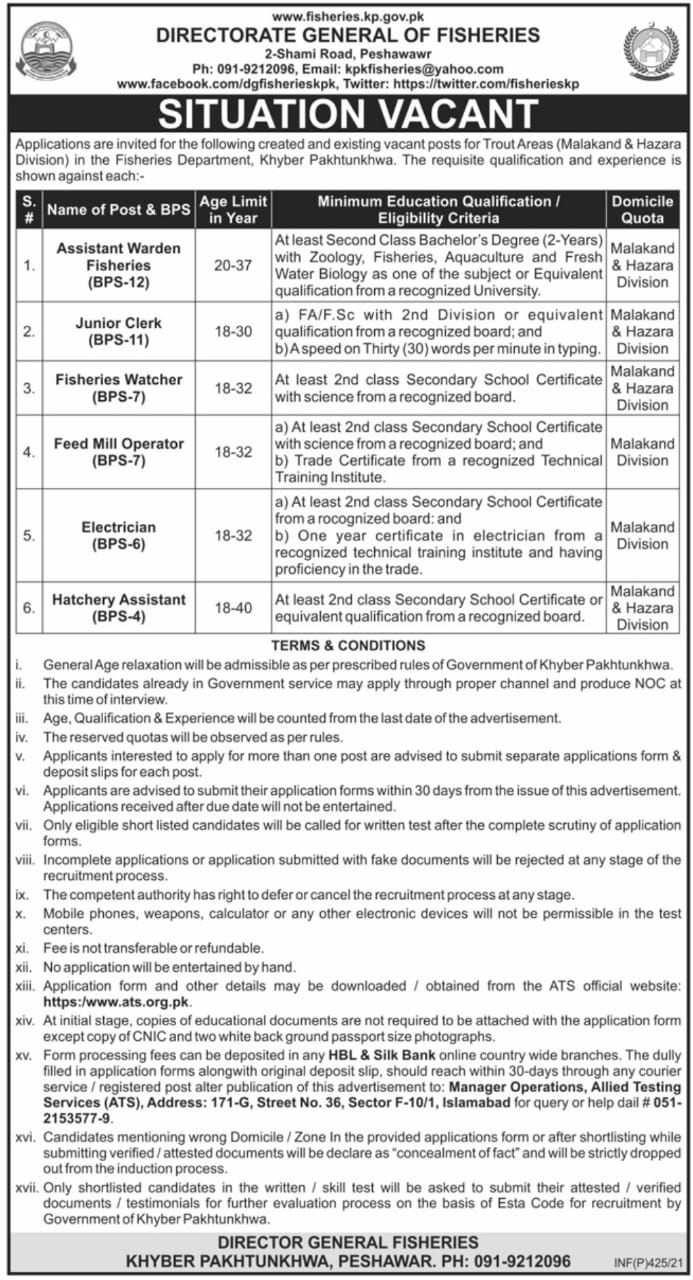 Directorate General of Fisheries KP Jobs ATS Results