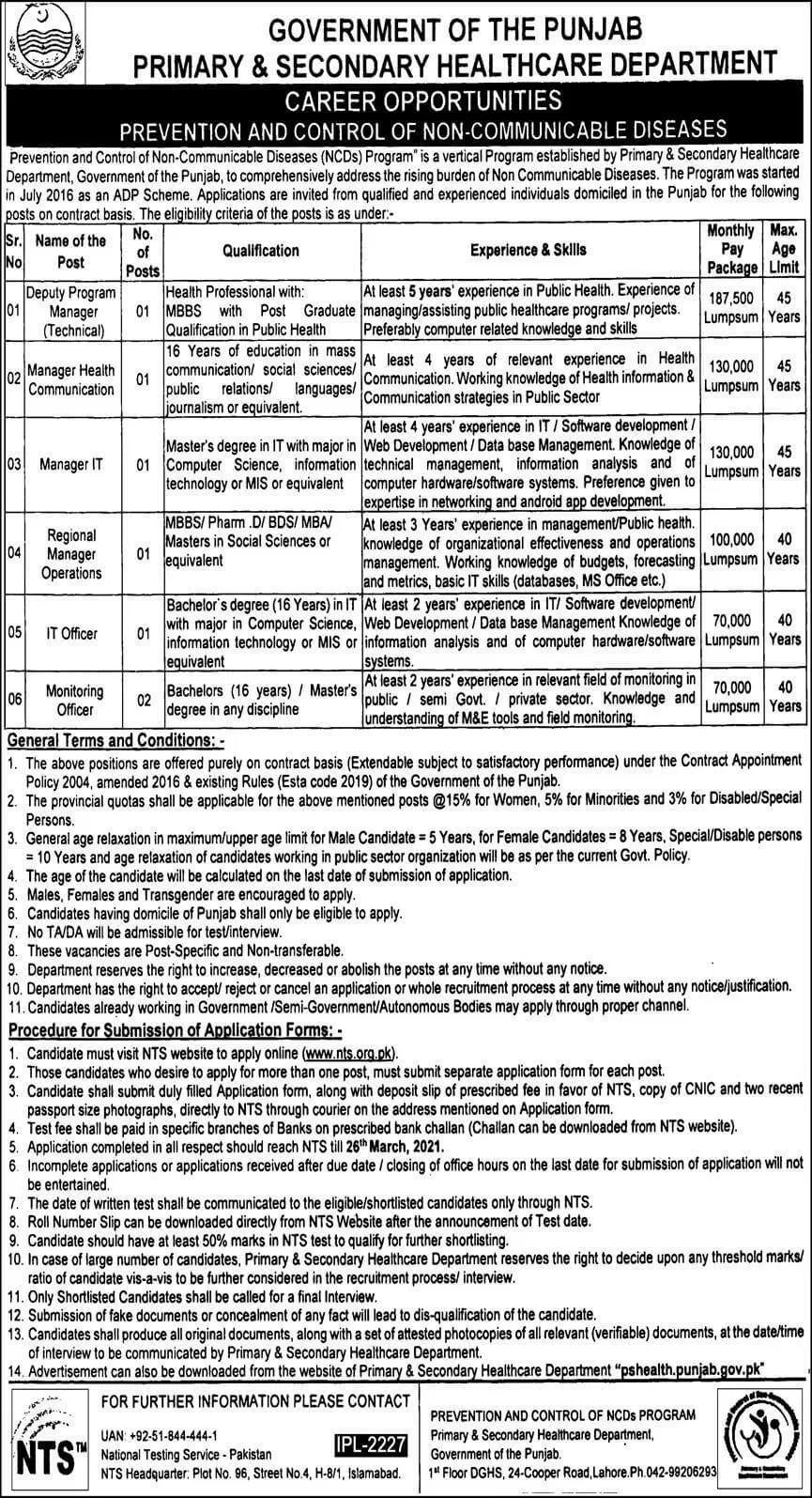 Primary Secondary Healthcare Department PSHD Jobs NTS Result