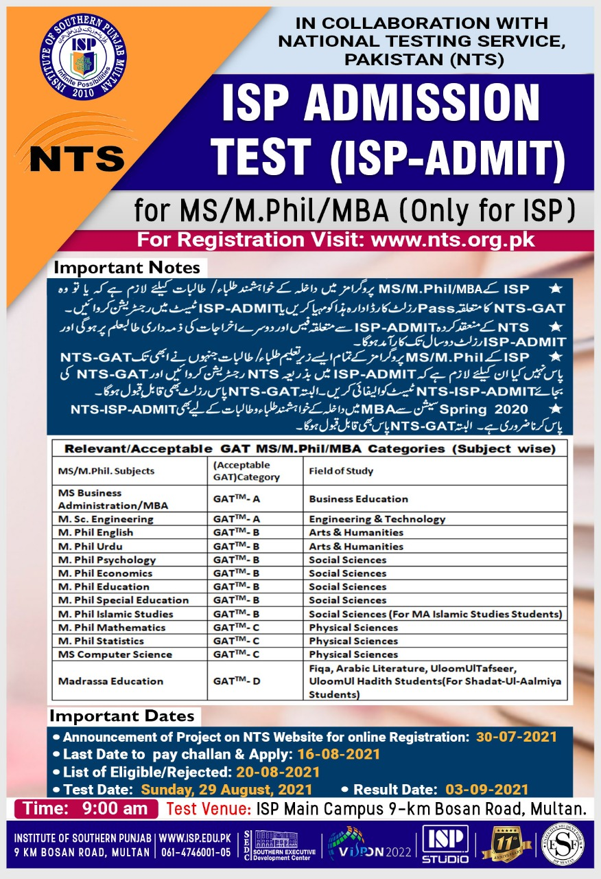 ISP Institute of Southern Punjab Admission MS MPhil MBA NTS Roll No Slip