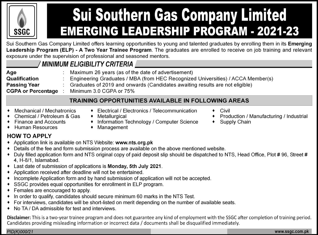 Emerging Leaders Two Year Trainee SSGC Program NTS Result
