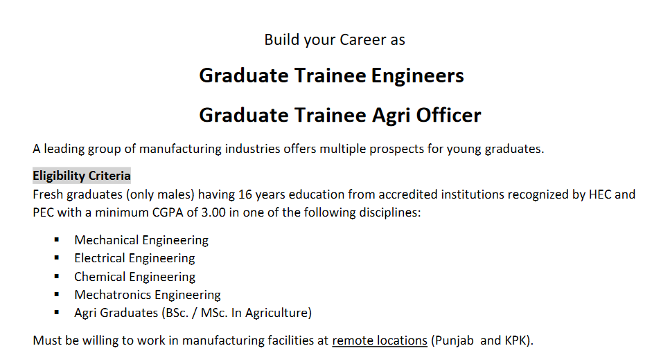 Graduate Trainee Leading Manufacturing Group NTS Test Result