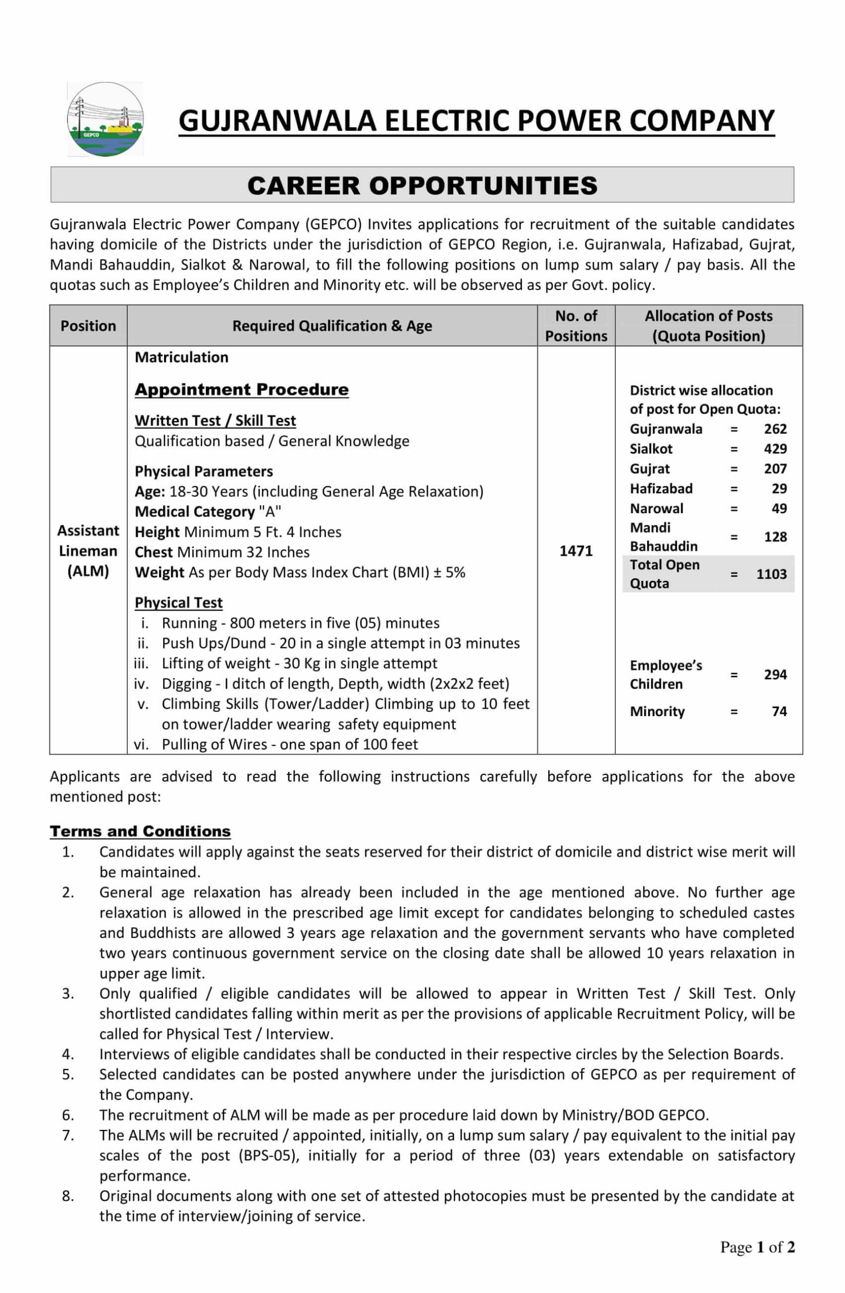 GEPCO ALM Jobs NTS Test Roll No Slip 2021